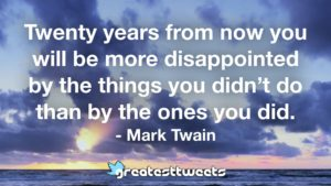 Twenty years from now you will be more disappointed by the things you didn't do than by the ones you did. - Mark Twain