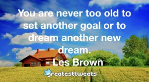 You are never too old to set another goal or to dream another new dream. - Les Brown