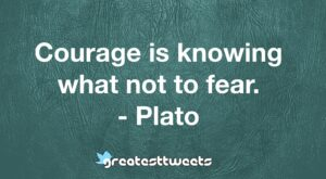 Courage is knowing what not to fear. - Plato
