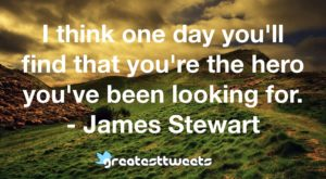 I think one day you'll find that you're the hero you've been looking for. - James Stewart