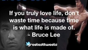 If you truly love life, don't waste time because time is what life is made of. - Bruce Lee