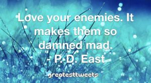 Love your enemies. It makes them so damned mad. - P. D. East