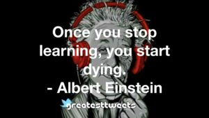 Once you stop learning, you start dying. - Albert Einstein
