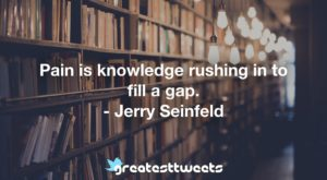 Pain is knowledge rushing in to fill a gap. - Jerry Seinfeld