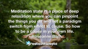 Meditation state is a place of deep relaxation where you can pinpoint the things you do and set a paradigm switch from effect to cause. So how to be a cause in your own life.- Roseanne Barr.001