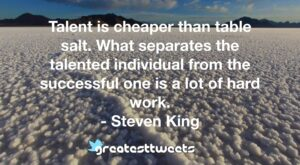 Talent is cheaper than table salt. What separates the talented individual from the successful one is a lot of hard work. - Steven King
