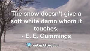 The snow doesn't give a soft white damn whom it touches. - E. E. Cummings