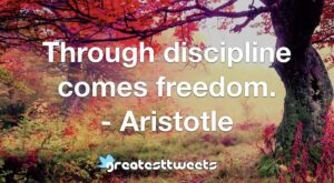 Through discipline comes freedom. - Aristotle