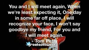 You and I will meet again, When we're least expecting it, One day in some far off place, I will recognize your face, I won't say goodbye my friend, For you and I will meet again.- Tom Petty.001