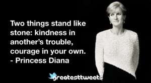 Two things stand like stone: kindness in another's trouble, courage in your own. - Princess Diana