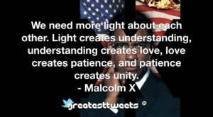 We need more light about each other. Light creates understanding, understanding creates love, love creates patience, and patience creates unity. - Malcolm X