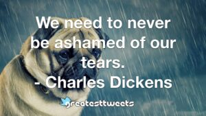 We need to never be ashamed of our tears. - Charles Dickens