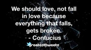 We should love, not fall in love because everything that falls, gets broken. - Confucius