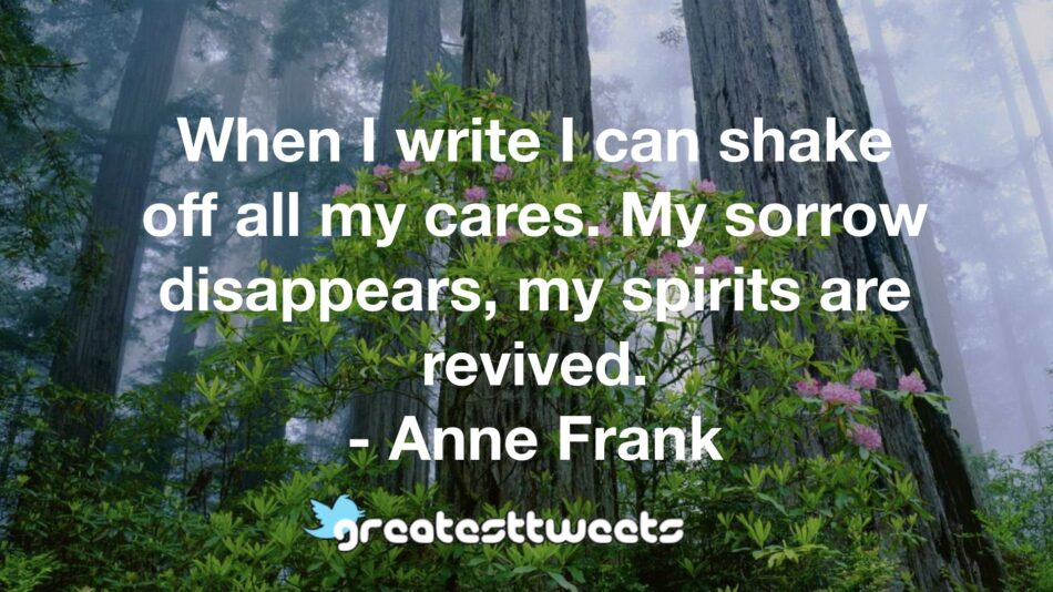 When I write I can shake off all my cares. My sorrow disappears, my spirits are revived. - Anne Frank