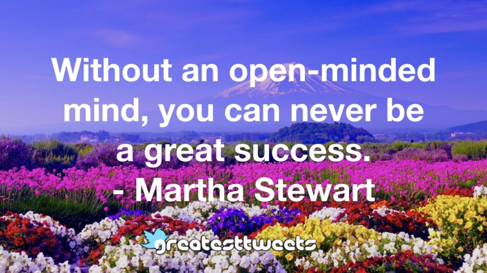 Without an open-minded mind, you can never be a great success. - Martha Stewart