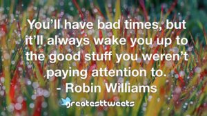 You'll have bad times, but it'll always wake you up to the good stuff you weren't paying attention to. - Robin Williams