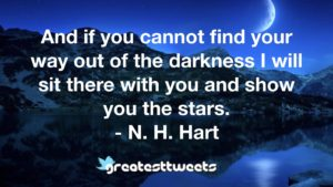 And if you cannot find your way out of the darkness I will sit there with you and show you the stars. - N. H. Hart