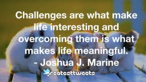 Challenges are what make life interesting and overcoming them is what makes life meaningful. - Joshua J. Marine