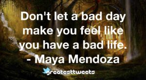 Don't let a bad day make you feel like you have a bad life. - Maya Mendoza