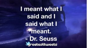 I meant what I said and I said what I meant. - Dr. Seuss