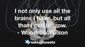 I not only use all the brains I have, but all that I can borrow. - Woodrow Wilson