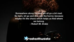 Somewhere along the way we all go a bit mad. So burn, let go and dive into the horror, because maybe it's the chaos which helps us find where we belong. - Robert M. Drake