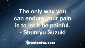 The only way you can endure your pain is to let it be painful. - Shunryu Suzuki