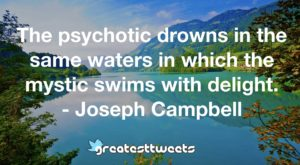 The psychotic drowns in the same waters in which the mystic swims with delight. - Joseph Campbell