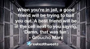 When you're in jail, a good friend will be trying to bail you out. A best friend will be in the cell next to you saying, 'Damn, that was fun'. - Groucho Marx