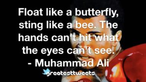 Float like a butterfly, sting like a bee. The hands can't hit what the eyes can't see. - Muhammad Ali