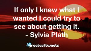 If only I knew what I wanted I could try to see about getting it. - Sylvia Plath