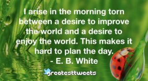 I arise in the morning torn between a desire to improve the world and a desire to enjoy the world. This makes it hard to plan the day. - E. B. White