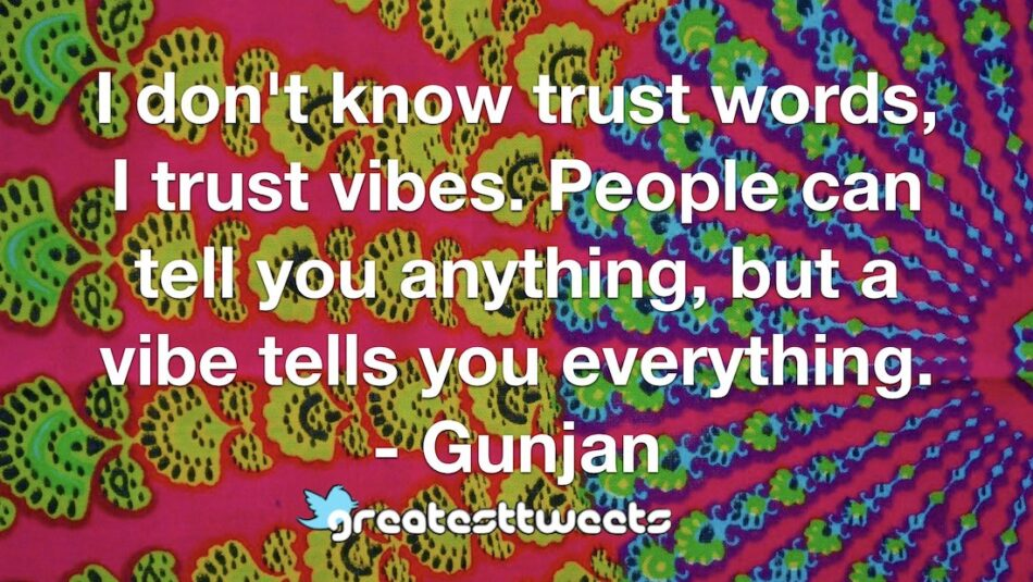 I don't know trust words, I trust vibes. People can tell you anything, but a vibe tells you everything. - Gunjan