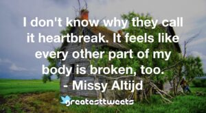 I don't know why they call it heartbreak. It feels like every other part of my body is broken, too. - Missy Altijd