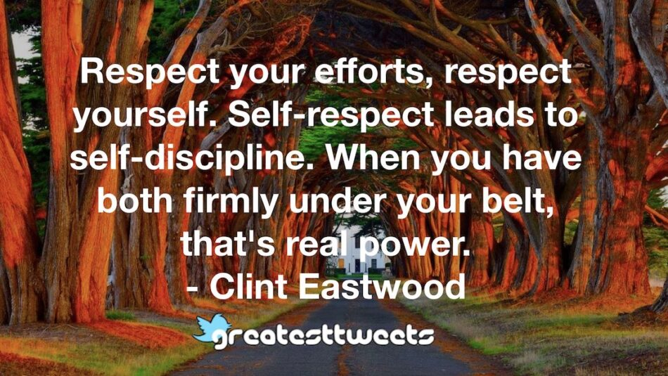 Respect your efforts, respect yourself. Self-respect leads to self-discipline. When you have both firmly under your belt, that's real power. - Clint Eastwood