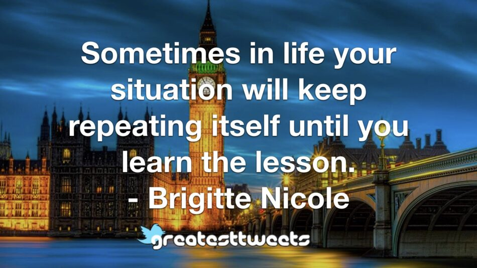 Sometimes in life your situation will keep repeating itself until you learn the lesson. - Brigitte Nicole