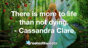 There is more to life than not dying. - Cassandra Clare
