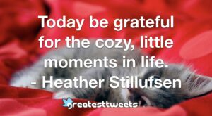 Today be grateful for the cozy, little moments in life. - Heather Stillufsen
