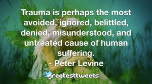 Trauma is perhaps the most avoided, ignored, belittled, denied, misunderstood, and untreated cause of human suffering. - Peter Levine