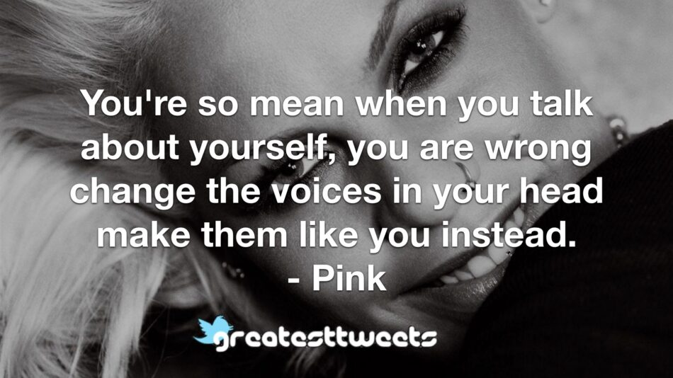 You're so mean when you talk about yourself, you are wrong change the voices in your head make them like you instead. - Pink