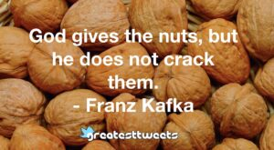 God gives the nuts, but he does not crack them. - Franz Kafka